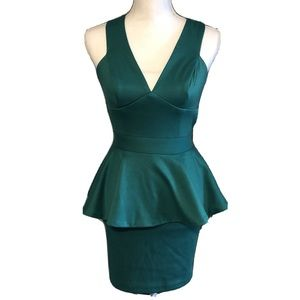 ASOS Dress Green Peplum V Neck Mini Low Back Sz 2